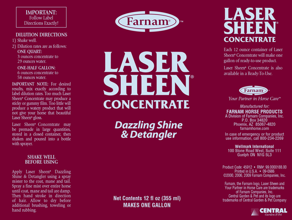 Laser Sheen Concentrate Bottle Label